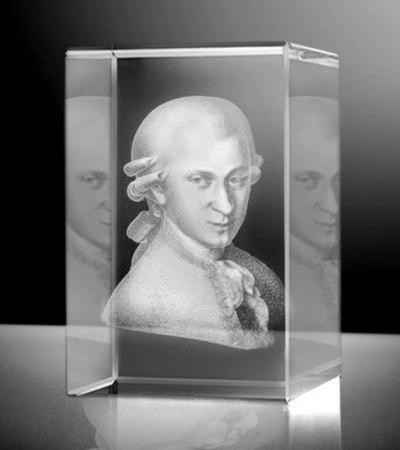 Glazen kubus portret 3D beethoven 8x5x5 cm prijs €139,00